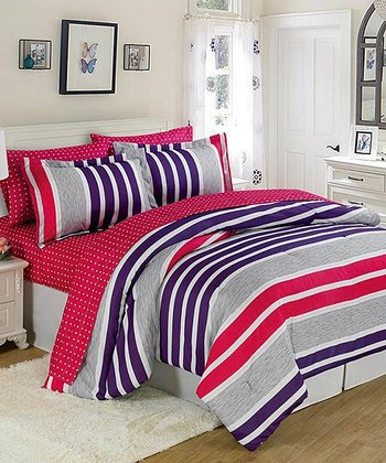 Purple & Pink Stripes Bed-in-a-Bag Set