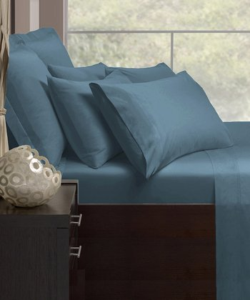 Blue Cotton Rich 1000-Thread Count Sheet Set