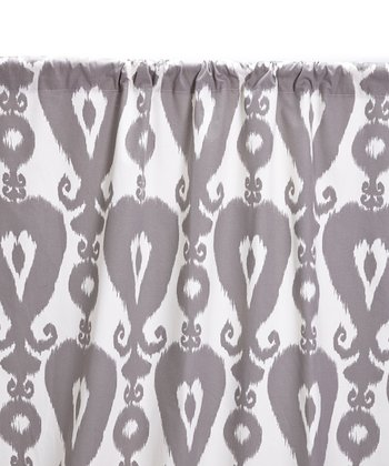 Charcoal Gray & Ivory Ikat Curtain Panel