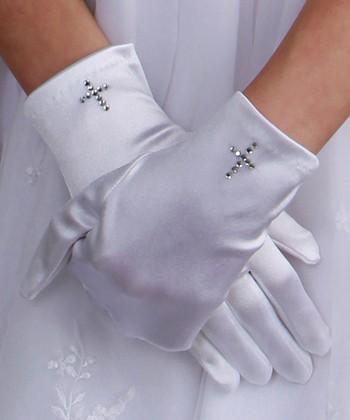 Tiny Treasures  White Rhinestone Cross Satin Gloves