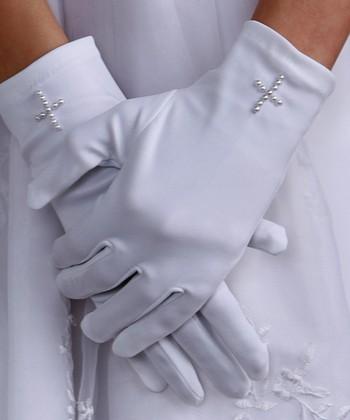 Tiny Treasures  White Pearl Cross Satin Gloves