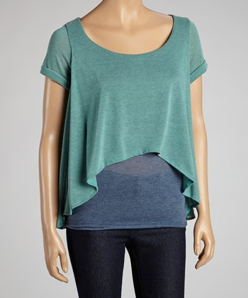 Teal & Blue Vera Hi-Low Layered Top