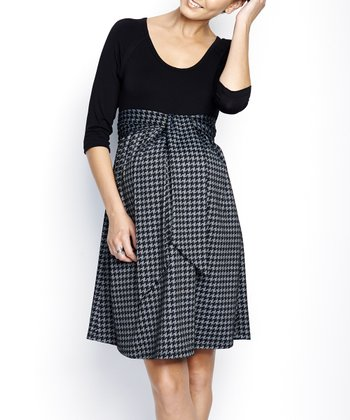 Black Hondstooth Maternity Scoop Neck Dress