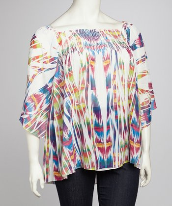 White Tahiti Sublimation Plus-Size Cape-Sleeve Top