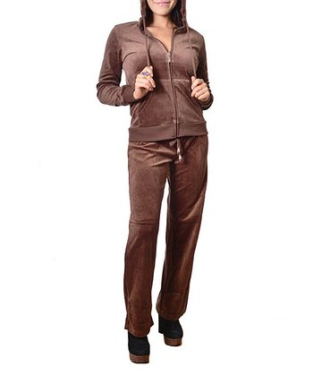 Brown Velour Zip-Up Hoodie & Lounge Pants