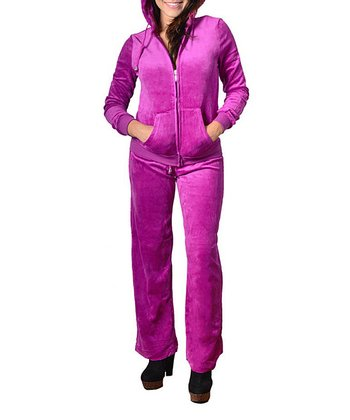 Fuchsia Velour Zip-Up Hoodie & Lounge Pants