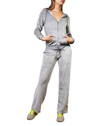 Heather Gray Nail Stud Velour Zip-Up Hoodie & Lounge Pants