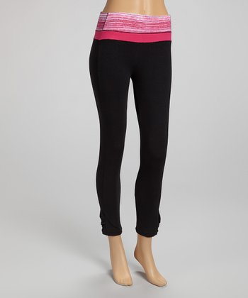Black & Pink Capri Leggings