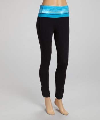 Black & Sky Blue Capri Leggings