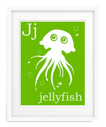 Green J is for Jellyfish Giclée Print