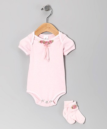 Pink Rosette Bodysuit & Socks - Infant