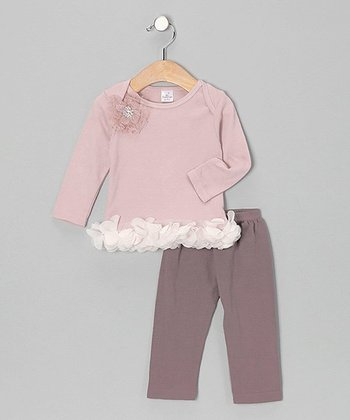 Mauve Gem Flower Lap Neck Tunic & Leggings - Infant