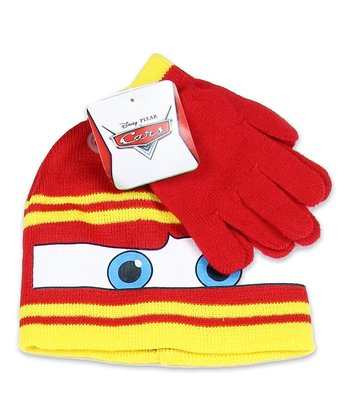 Yellow Stripe Lightning McQueen Beanie & Gloves