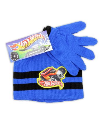 Blue Stripe 'Hot Wheels' Beanie & Gloves