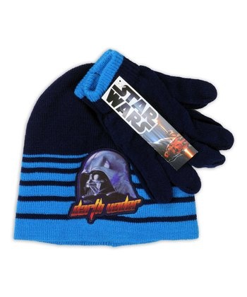 Blue Stripe 'Darth Vader' Beanie & Gloves