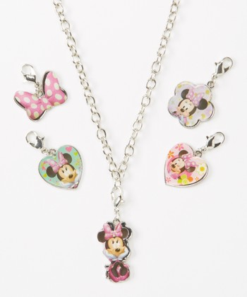 Minnie Mouse Necklace & Charms Set