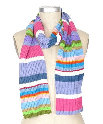 Pale Pink & Purple Stripe Scarf