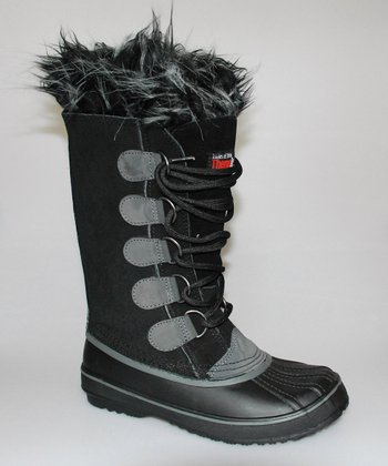 Black & Gray Lace-Up Duck Boot