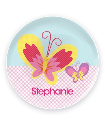 Smiley Butterfly Personalized Plate