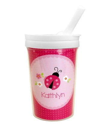 Sweet Pink Ladybug Personalized Toddler Cup