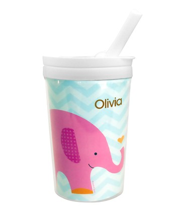 Sweet Pink Elephant Personalized Toddler Cup