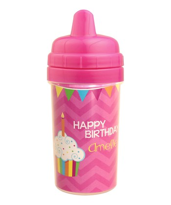 Pink 'Happy Birthday' Personalized Sippy Cup