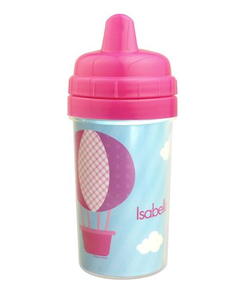 Pink Hot Air Balloon Personalized Sippy Cup