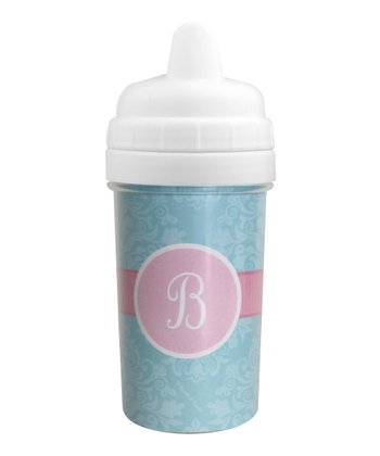 Pretty Blue Damask Initial Sippy Cup