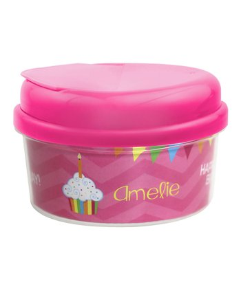 Pink 'Happy Birthday' Personalized Snack Container