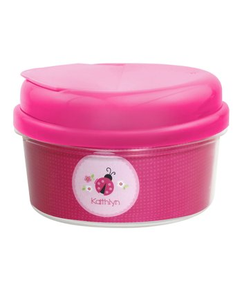 Sweet Pink Ladybug Personalized Snack Container