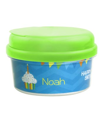 Blue 'Happy Birthday' Personalized Snack Container