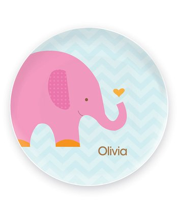 Sweet Pink Elephant Personalized Plate