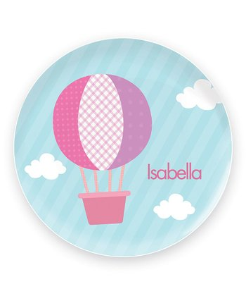 Pink Hot Air Balloon Personalized Plate