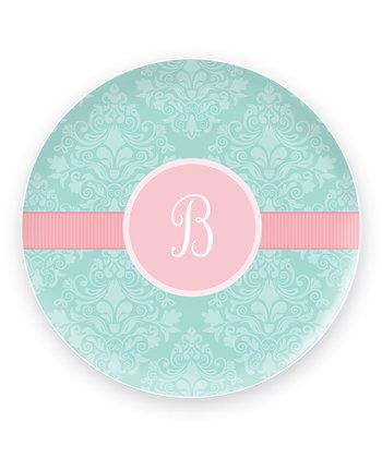 Pretty Blue Damask Initial Plate