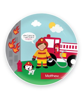 Cool Brown-Haired Firefighter Personalized Plate
