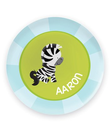 Cute Baby Zebra Personalized Plate