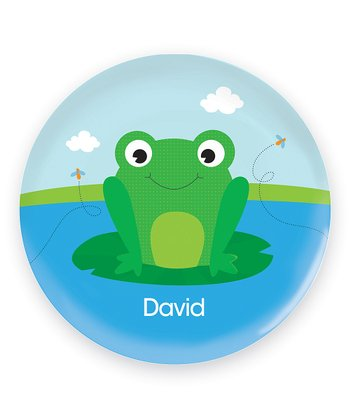 Cute Smiley Frog Personalized Plate