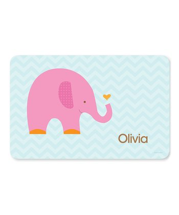 Sweet Pink Elephant Personalized Place Mat