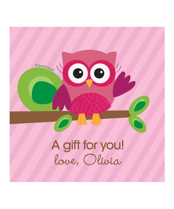 Pink Owl Personalized Gift Tag - Set of 25