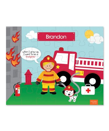 Blonde Fireman Personalized Puzzle