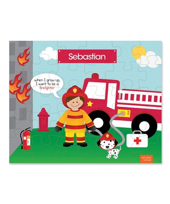 Brown-Haired Fireman Personalized Puzzle
