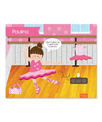Brown-Haired Ballerina Studio Personalized Puzzle