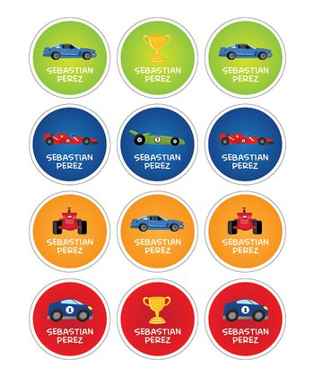 Racecars Personalized Sticker Sheet