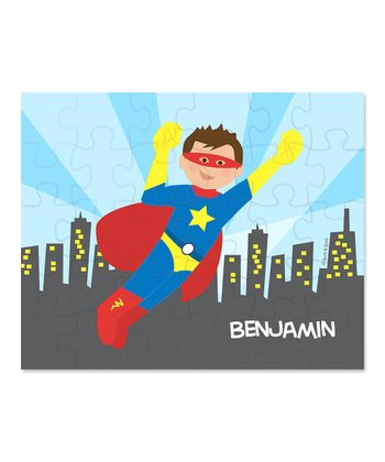 Brown-Haired Superhero Personalized Puzzle