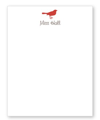 Red Bird Personalized Notepad