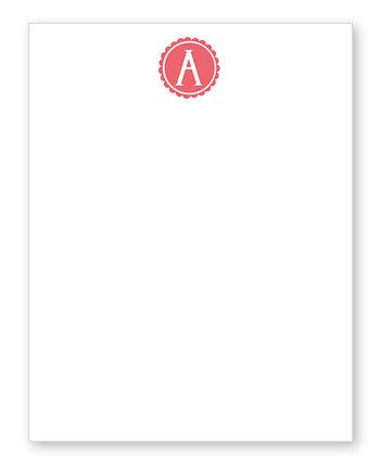 Pink Scalloped Initial Notepad
