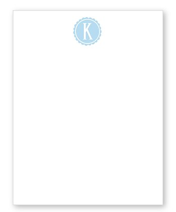 Light Blue Scalloped Initial Notepad