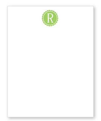 Green Scalloped Initial Notepad