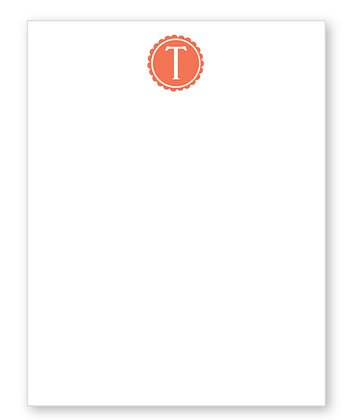 Orange Scalloped Initial Notepad