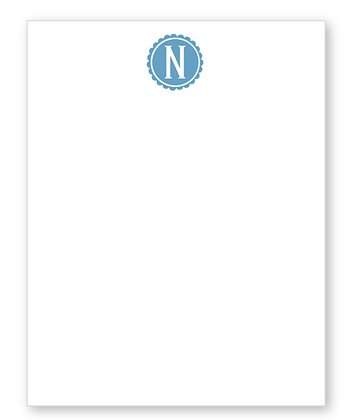 Dark Blue Scalloped Initial Notepad